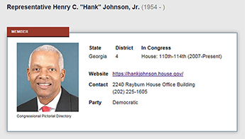 Congressman Hank Johnson's card showing his picture with information about the district number