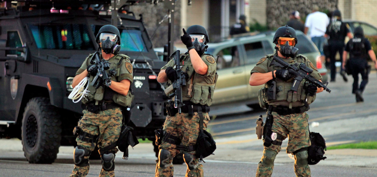 increasingly militarized police met peaceful protesters in the streets