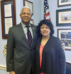 Congressman Johnson with Berta Cáceres on Capitol Hill.